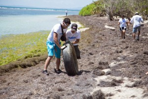 Amgen associates clean up the Canejo beach coast, where they collected about 1,300 pounds of waste.
