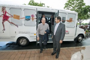 "From left: Plaza Las Américas President Jaime Fonalledas and Miguel Torres, secretary of the Department of Transportation and Public Works were on hand Monday to experience the ""A ride to Plaza"" service first-hand."
