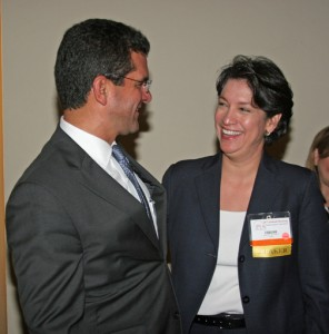 Resident Commissioner Pedro Pierluisi and Deirdre Connelly meet up at the PIA annual convention Thursday.