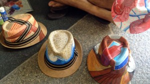 "Straw hats embellished by artist Antonio Folch wait to dry a few days before ""La Campechada"" kicks off."