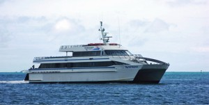 "The ""Big Cat Express"" ferry transports passengers from Fajardo to Culebra in 45 minutes."