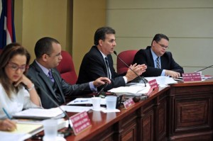Senate President Eduardo Bhatia speaks during Tuesday's public hearings.