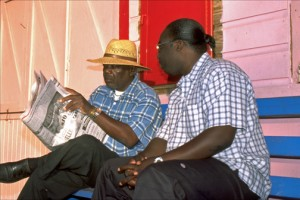 Taxi drivers take a break at Port Lucaya Marketplace, Grand Bahama. (Credit: Larry Luxner)