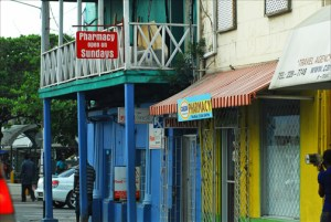 Corner pharmacy in downtown Bridgetown, Barbados. (Credit: Larry Luxner)