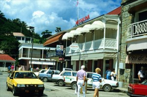 Busy commercial street in downtown Pointe-â-Pitre. (Credit: Larry Luxner)
