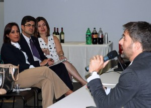Carlos Cobián of Wireless Idea (right), speaks to event participants during the GVA launch.