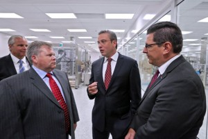 From left: Economic Development and Commerce Secretary Alberto Bacó, Bob Stewart, president of Actavis' Global Operations, Gov. García-Padilla, and PRIDCO Executive Director Antonio Medina.