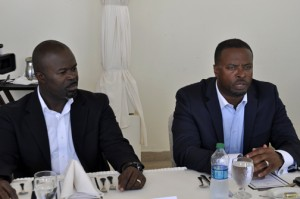 Greg B. Phillip, marketing manager for the Nevis Tourism Authority and Nevisian Tourism Minister, Mark Brantley meet with members of the media Wednesday.