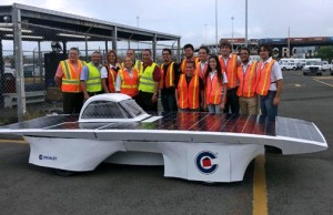 From left: Miguel Román, logistics manager, Francheska Lopez, solar car driver, Edward Padilla, suspension design leader, Xavier Camacho, electrical leader, Marielis Suarez, roll cage design leader and solar car driver, Ernesto Perez, manufacturing leader, Gustavo González, captain, and Kevin Corpetti, battery design leader, at Crowley's port terminal in Jacksonville.