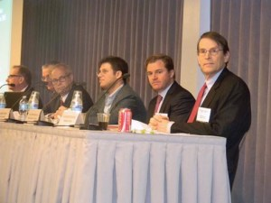 The EMTA sponsored a panel discussion by (from left) Joseph Rosenblum, of AllianceBernstein, Arturo Porzecanski, of American University, Charles Blitzer, of Blitzer Consulting, Aaaron Stern, of Fir Tree Partners, Matthew McGill, attorney with Gibson, Dunn & Crutcher, and David Hitchcock of S&P.