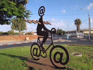 The Internet messenger statue in Israel (Credit: Wikipedia/Buky Schwartz)
