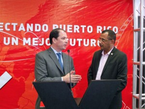 From left: Claro President Enrique Ortiz de Montellano and Yauco Mayor Abel Nazario, during a Monday news conference.