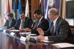 "From left: Puerto Rico Trade and Export Executive Director Francisco Chévere, Marcelino Borges, director of field operations of the Bureau of Customs and Border Protection, Pierluisi, and Paul ""Chip"" Jaenichen, administrator of the U.S. Maritime Administration during Monday's roundtable."