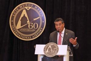 Aerostar Airport Holdings CEO Agustín Arellano speaks during Thursday's anniversary ceremony.