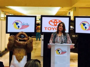 Maribel Bengoa, marketing manager for Toyota offers details of the automaker's exhibit.