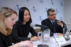 "From left: Margaret Myers of Inter-American Dialogue, and Fei Yuan and Kevin Gallagher of Boston University — co-authors of a new report about ""green financing in the Americas"" discuss their findings at a Nov. 30 panel discussion in Washington. (Credit: Larry Luxner)"