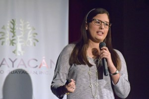 Maricarmen Vargas, founder of Electronic Sports and EnterPRize competition winner, addresses participants on Tuesday.