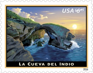 The stamp depicts a sunset view of La Cueva del Indio in Arecibo, a cave that gets its name from the great number of engravings, known as petroglyphs, found on the walls.
