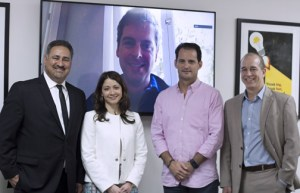 From left: Ángel Pérez, Frances Colón, Javier Soltero (on the wall), Francisco Uriarte, and Manuel Calderón.