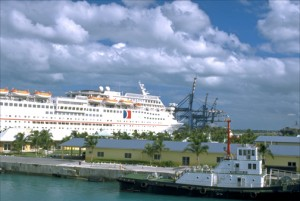 Cruise ship docks at Freeport terminal, Grand Bahama Island, where Carnival plans a huge yet controversial cruise-ship port. (Credit: Larry Luxner)