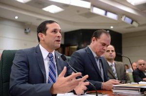 Puerto Rico Aqueduct and Sewer Authority Executive Director Alberto Lázaro during Sunday's House budget hearings.