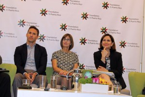 From left: Hotel Developer Federico Stubbe, Clarisa Jiménez, and Ingrid Rivera during the panel discussion.