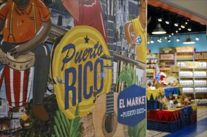 Colorful displays promote local handicrafts at El Market Puerto Rico, a duty-free shop at San Juan's LMM. (Credit: Larry Luxner)
