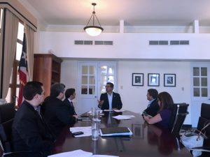 Puerto Rico Resident Commissioner Pedro Pierluisi (center) meets with representatives of the island's trade groups.