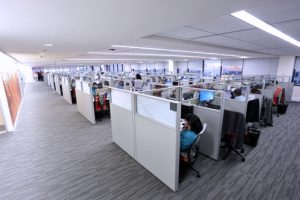The five-story call center has created more than 600 new jobs.