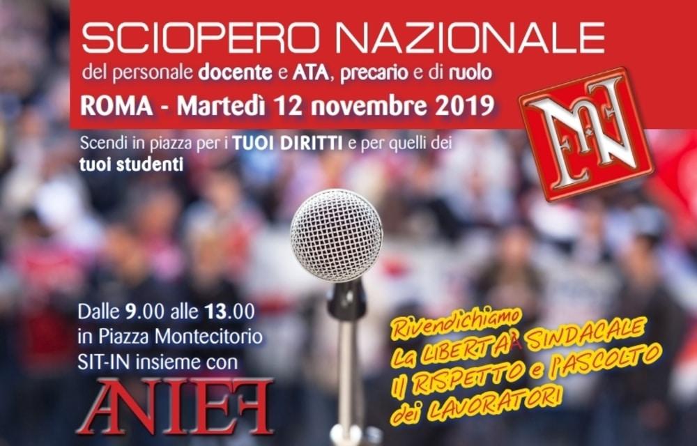 Sciopero Scuola 12 novembre 2019: Anief in piazza con docenti e ATA