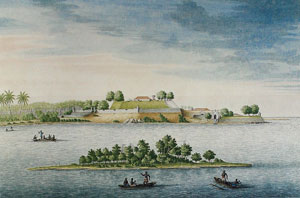 'The fortress of Kalutara from the river side'--- Watercolour C. Steiger, c. 1710, Rijiksmuseum, Amsterdam