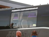 Window of Real Madrid team bus damaged on way into Anfield for Liverpool clash