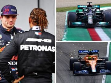 Lewis Hamilton beats Sergio Perez and Max Verstappen to take Emilia Romagna GP pole
