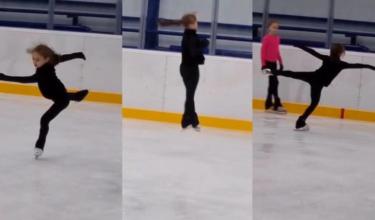 Russian skater Alena Zhilina, 11, easily lands the most difficult jumping combo of Olympic and world champ Alina Zagitova (VIDEO)