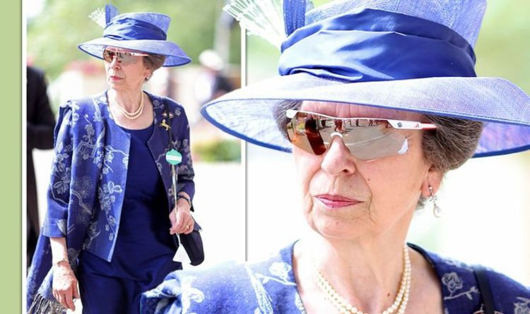 Princess Anne 'stylish' but 'classic' in navy blue embroidered outfit for Royal Ascot 2021