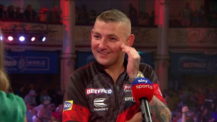 Nathan Aspinall was so happy to be back playing front of a home crowd at the Winter Gardens after his 10-6 defeat of Mervyn King.