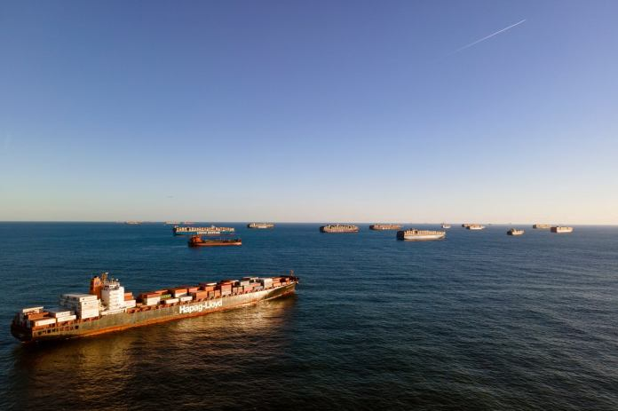 Record breaking 44 container ships are stranded off the coast California