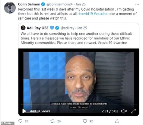 Scary: Colin shared his secret health battle back in January in a tweet as he urged his followers to avoid putting themselves at risk and get vaccinated