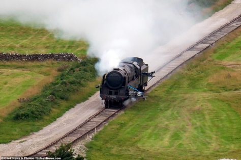 Mission Impossible 7 - Steam train sinks and plunges off cliff in Derbyshire