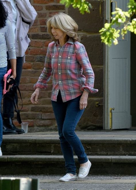 Speculation: Coronation Street stars Gail Platt, Ken Barlow and Claudia Colby were seen filming funeral scenes in Manchester on Wednesday, sparking speculation that Audrey Roberts has died