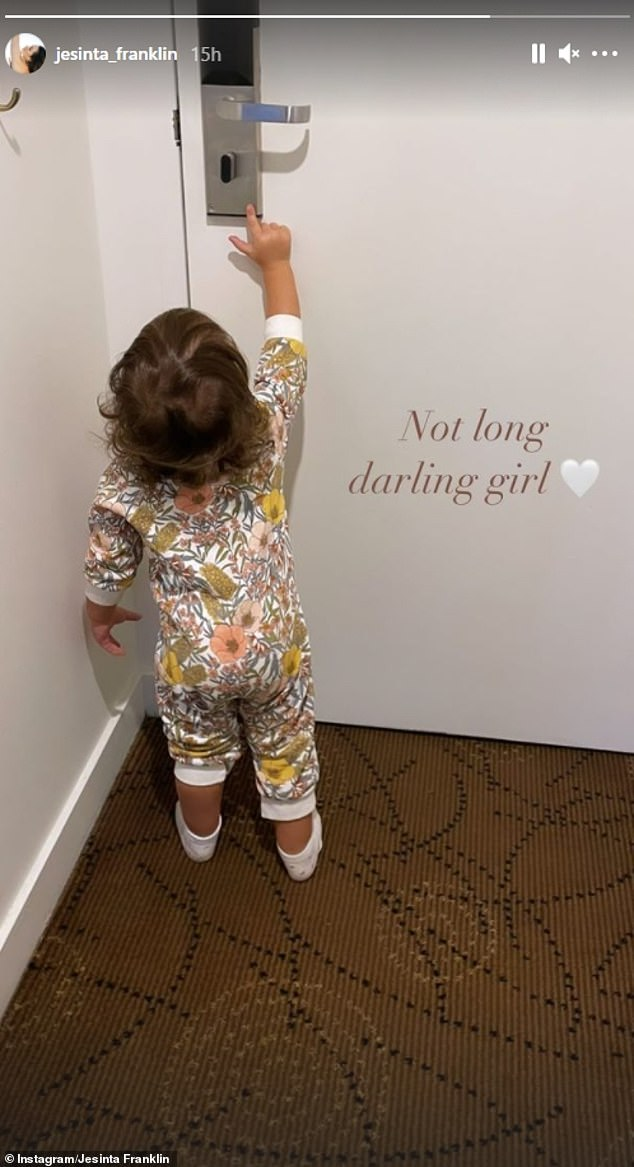 Freedom: On Monday evening, she shared a picture of her little girl reaching for the hotel door, and wrote: 'Not long, darling girl'