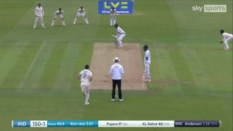 James Anderson had Cheteshwar Pujara caught in the slips by Jonny Bairstow for nine