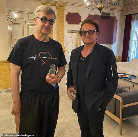 Pose: Festival director Mirsad Purivatra shared an image of Bono and Wenders on Instagram