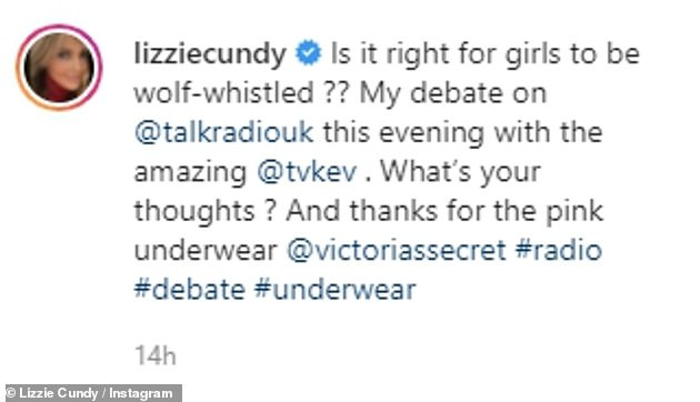 Discussion: Lizzie captioned her post with a question about wolf-whistling to her followers