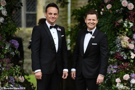 Close bond: Ant McPartlin gave a beaming smile as he arrived for his wedding to Anne-Marie Corbett with Best Man Declan Donnelly on Saturday