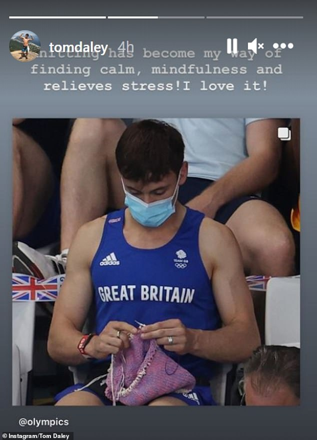 Stress reliever: Tom shared a snap of his knitting antics and said it 'relieves stress' for him