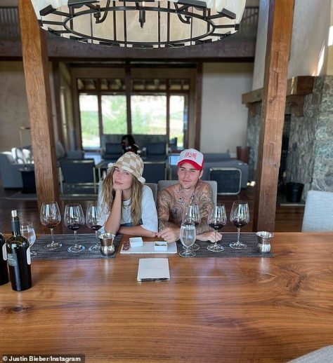Cheers: The couple showed off their luxurious accommodations while enjoying a wine-tasting session in another snapshot