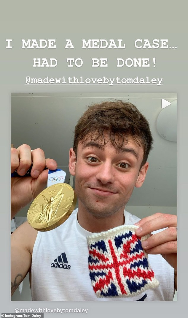 Mission accomplished: Last week Tom revealed he had knitted an emotional keepsake to forever remind him of his first gold medal at Tokyo 2020 - a customised gold medal pouch