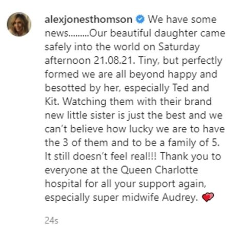 Alex Jones has given birth to a baby! One Show host Alex Jones welcomes baby! Girl