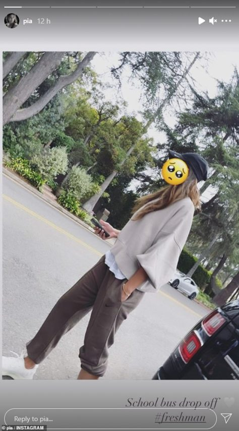 Milestone moment:Alongside an image with her face blanked out with a sad emoji, Pia, 37, wrote: 'School bus drop off', before revealing Lennox was starting his first day as a freshman